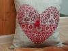 Подушка с вышитым сердцем