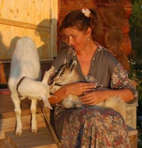 Оля с козлятами, Звенькой и Машей